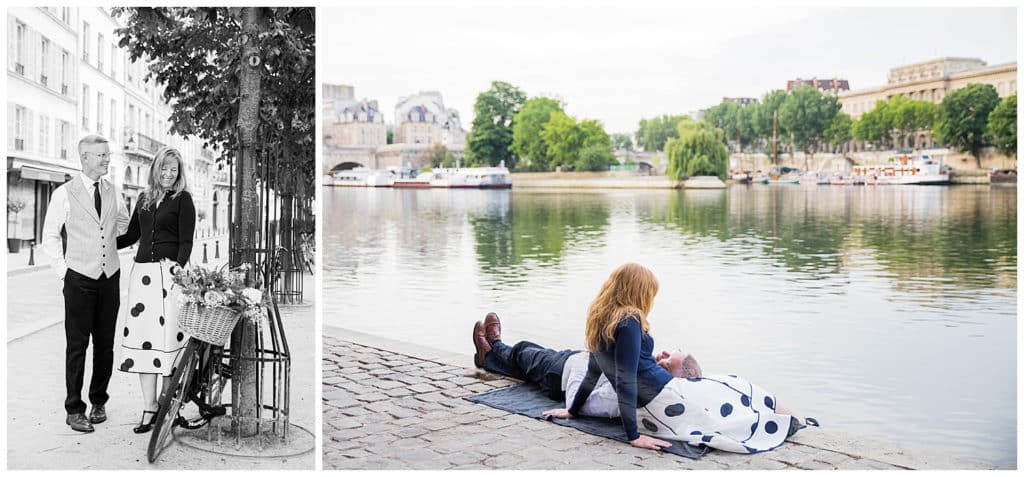 A vintage photo session on Ile de la Cité & the Seine river in Paris, France