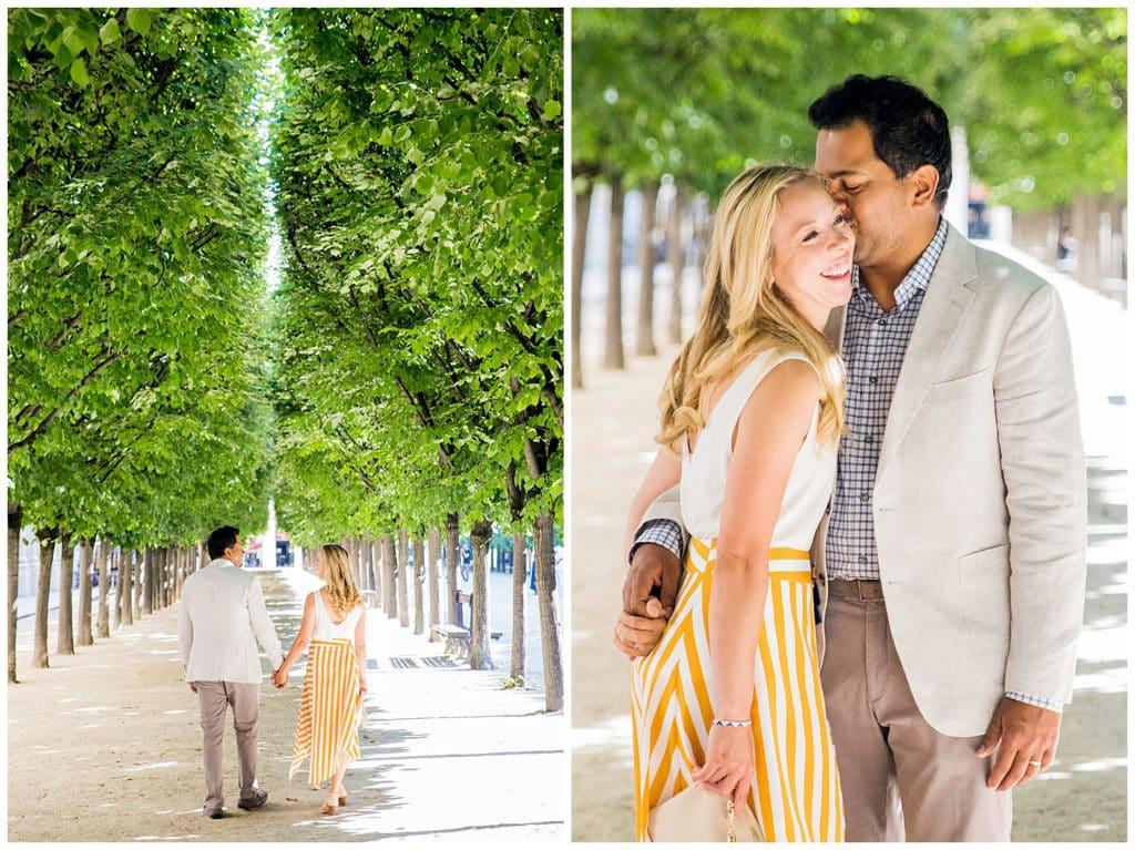 Une séance photo anniversaire de mariage au Palais Royal et sur l'Île Saint-Louis à Paris