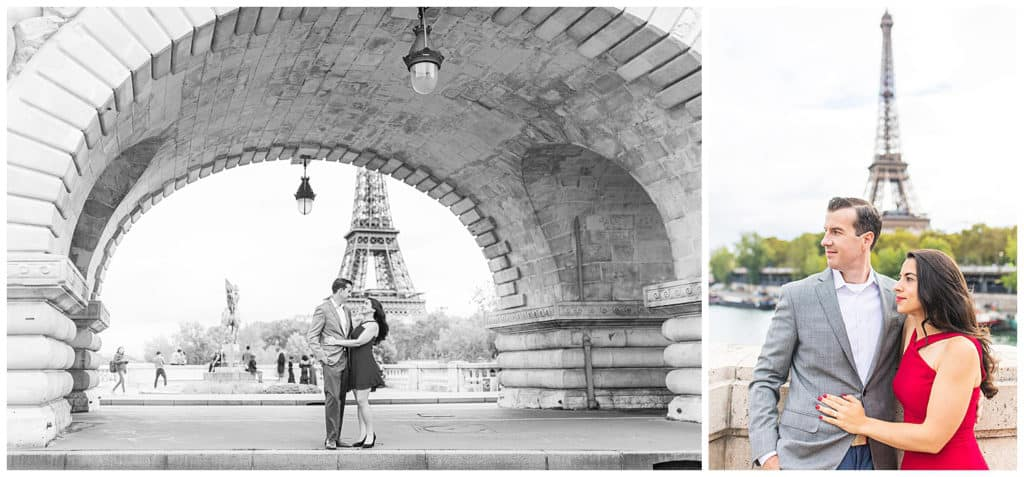 An engagement photo session at the Eiffel Tower and Notre Dame Cathedral in Paris, France