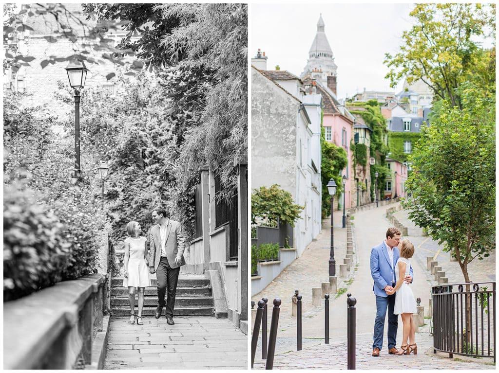 Une séance photo engagement romantique à la Tour Eiffel, Montmartre et Rue Crémieux, Paris
