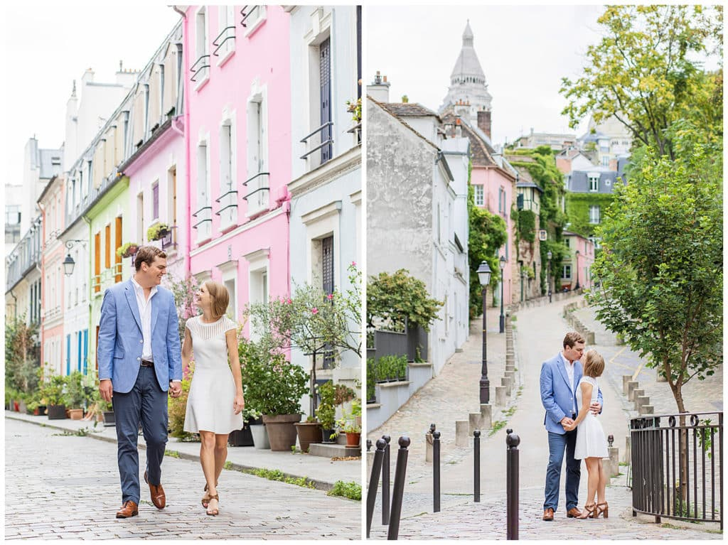 A romantic engagement photo session in Montmartre and Rue Crémieux, Paris, France