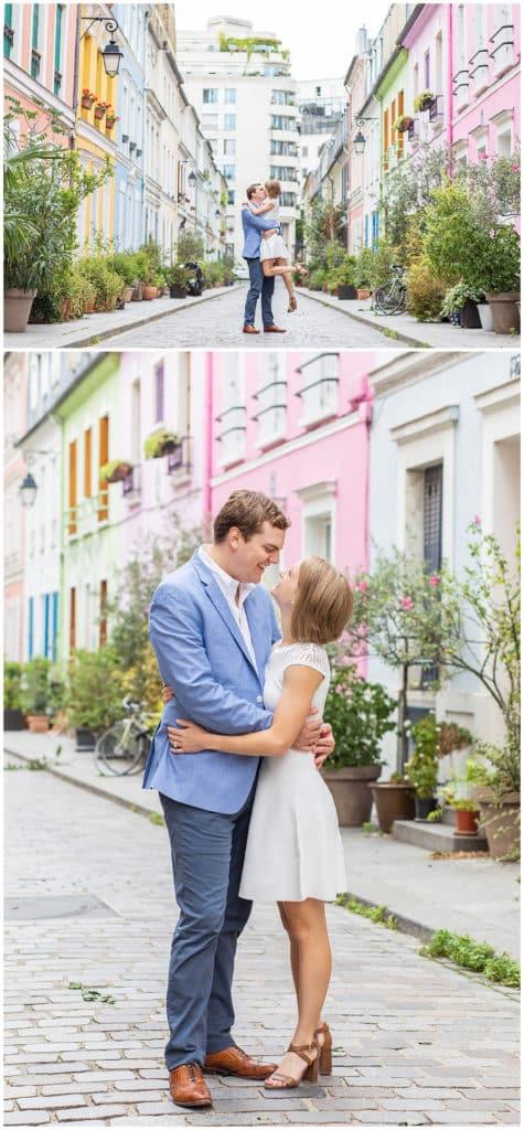 A romantic engagement photo session in Montmartre and Rue Crémieux, Paris, France