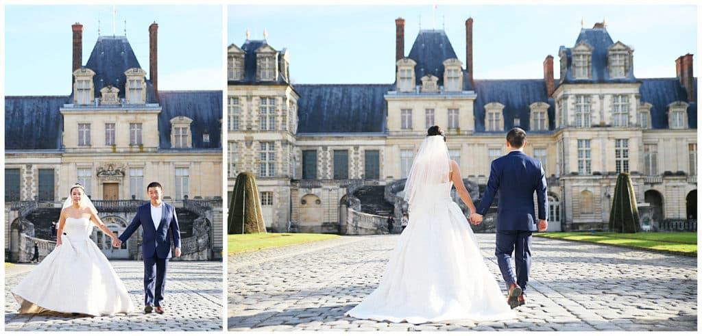 A pre-wedding photo session at the Chateau de Fontainebleau near Paris, France