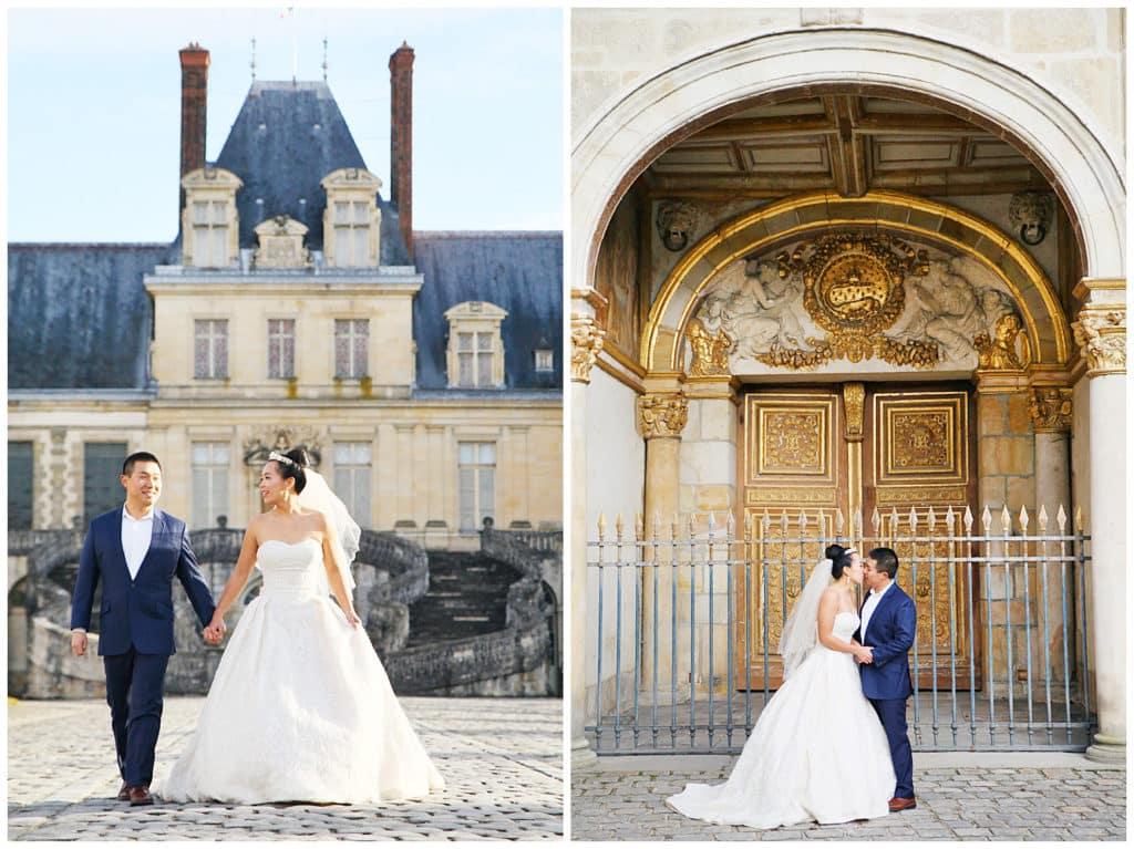 Une séance photo de mariage au Château de Fontainebleau près de Paris