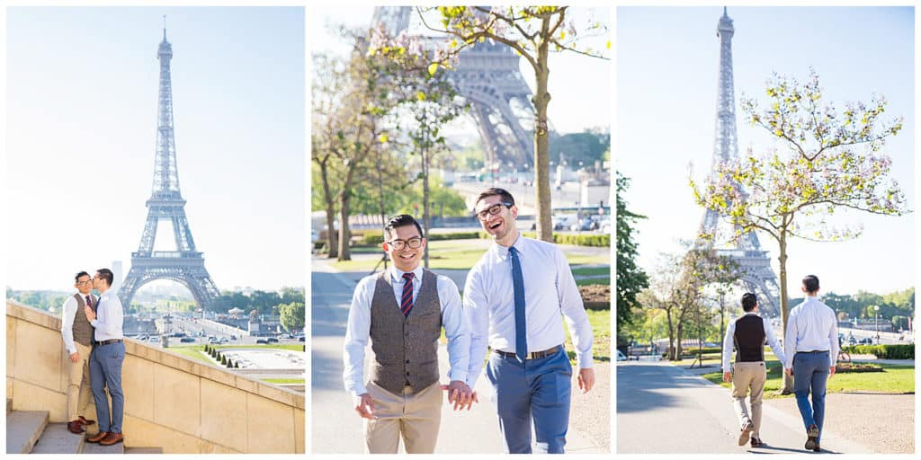 An engagement photo session in Paris, France at the Eiffel Tower, Alexander III Bridge and Louvre Pyramid