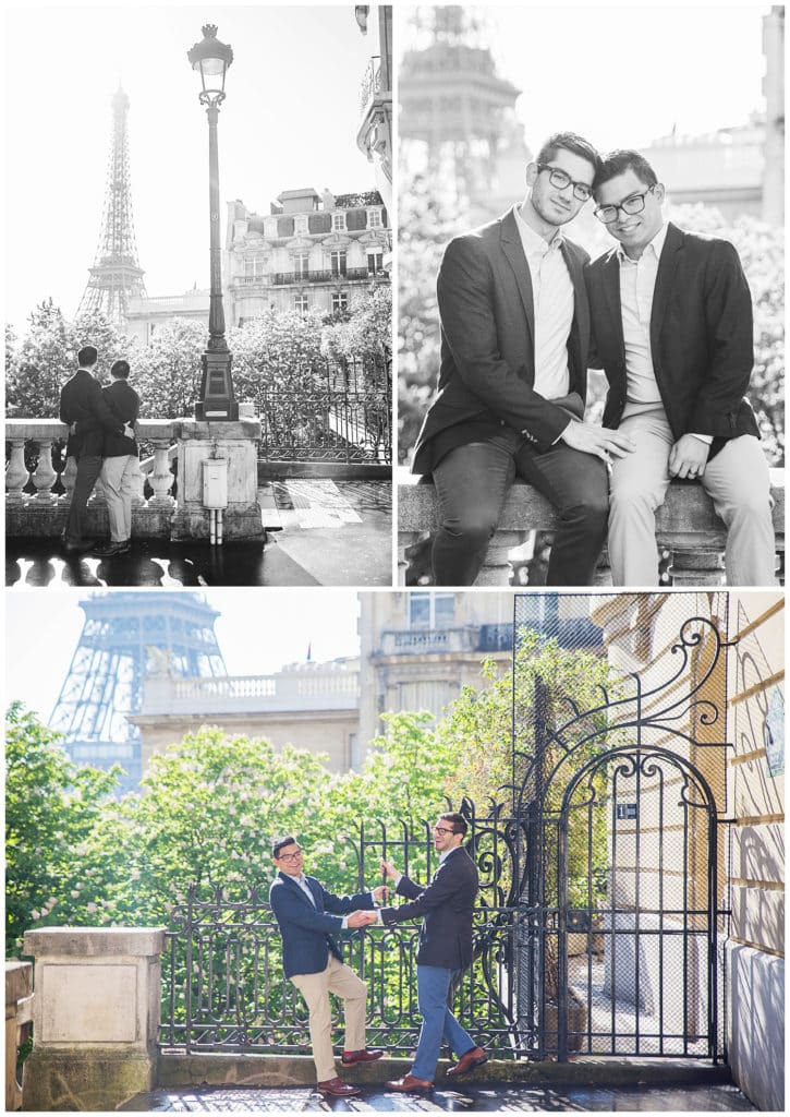 Une séance photo engagement LGBT à la Tour Eiffel, sur le Pont Alexandre III et au Louvre à Paris