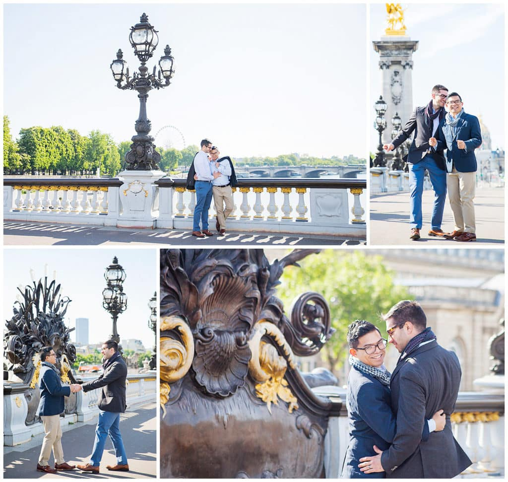 An engagement LGBT photo session in Paris, France at the Eiffel Tower, Alexander III Bridge and Louvre Pyramid