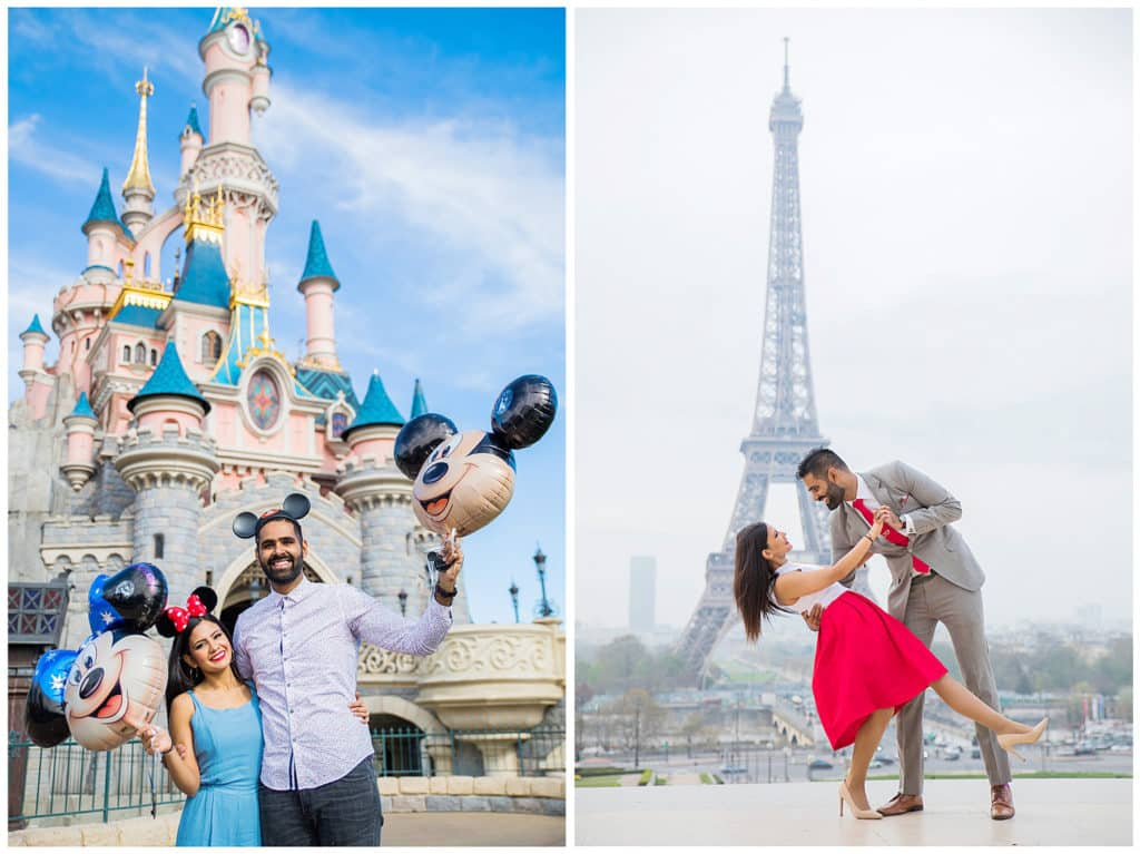 A surprise proposal at Disneyland Paris and engagement session in the City of Love