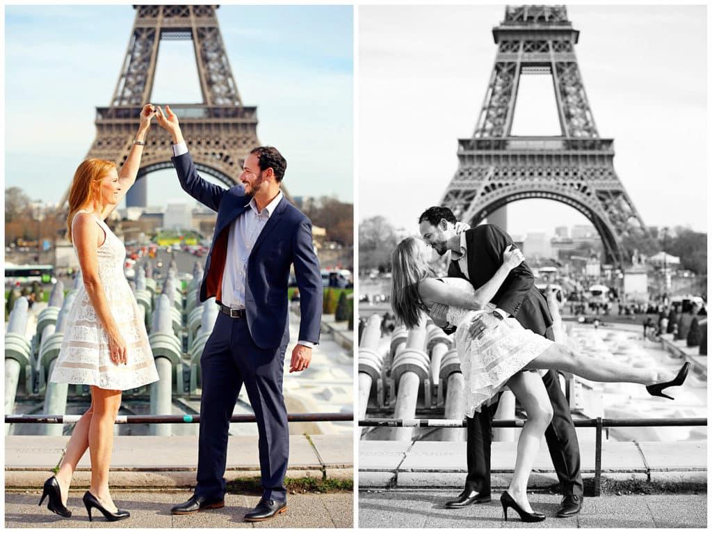 Une séance photo d'anniversaire de mariage et annonce de grossesse à la Tour Eiffel, Paris
