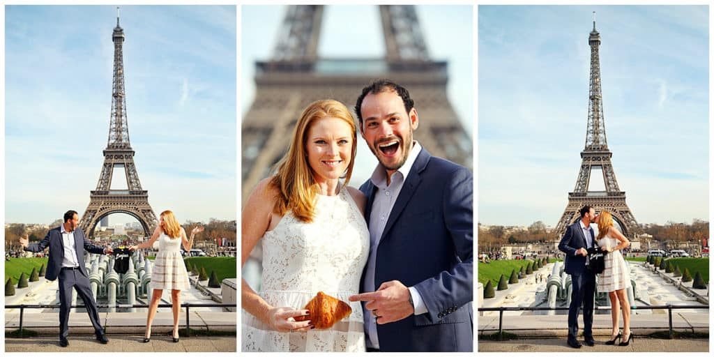 A cute baby announcement photoshoot by the Eiffel Tower