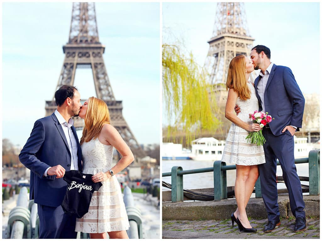 A cute baby announcement and anniversary photo session by the Eiffel Tower in Paris, France