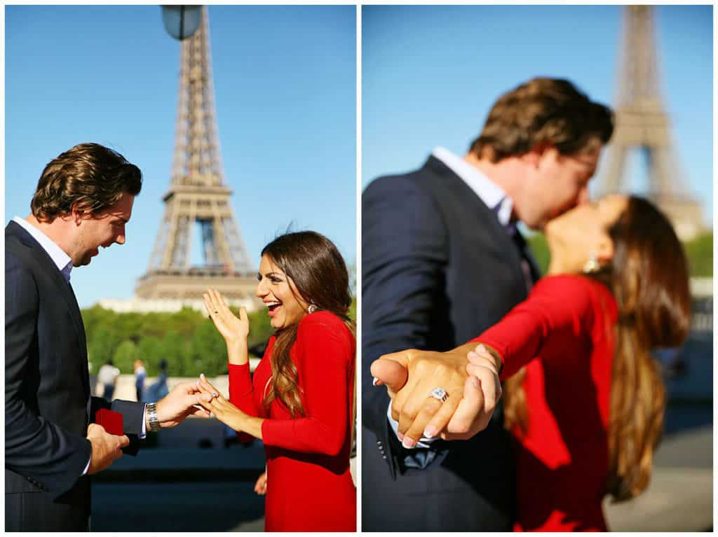 A fairytale surprise proposal in front of the Eiffel Tower in Paris, France