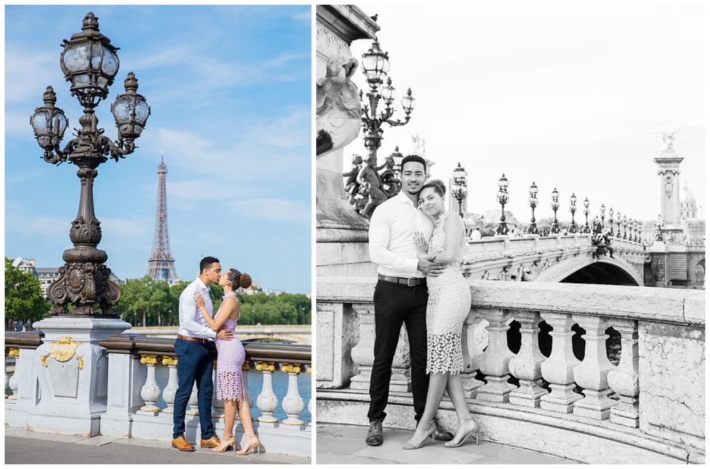 A sweet surprise proposal in front of the Eiffel Tower in Paris, France