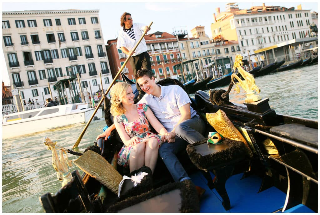A romantic sunset anniversary photo session in Venice, Italy, Europe