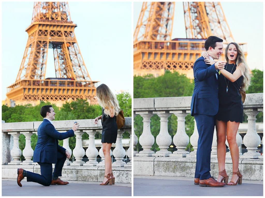 Demande en mariage sur le Pont de Bir Hakeim devant la Tour Eiffel