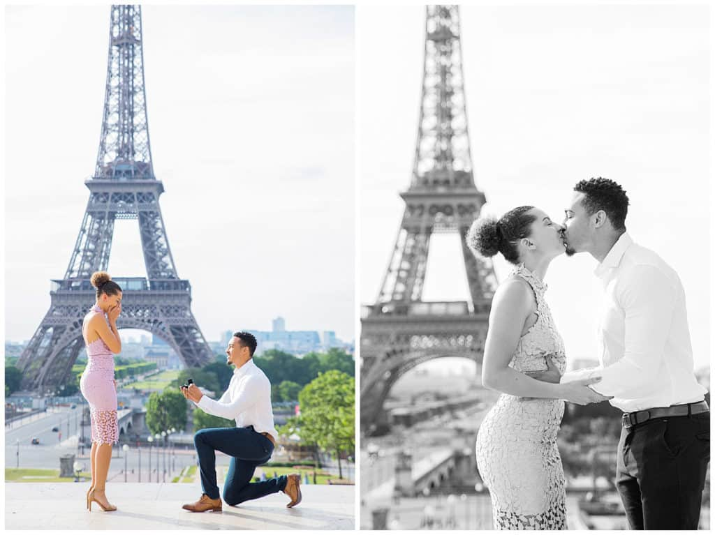 A sweet surprise proposal by the Eiffel Tower in Paris