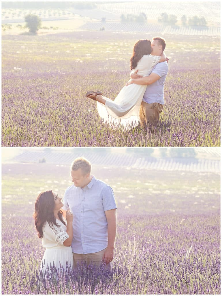 A sweet anniversary photo session in the Provence lavender fields in Sault