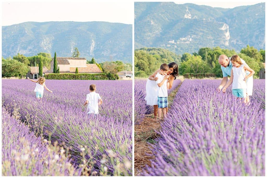 Une séance photo de famille : village et champs de lavande du Luberon