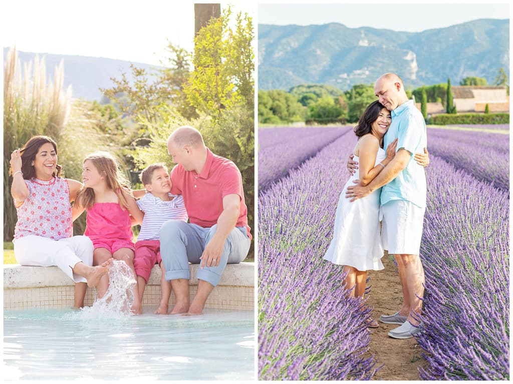 A family photo session in a Luberon village and lavender fields of Provence