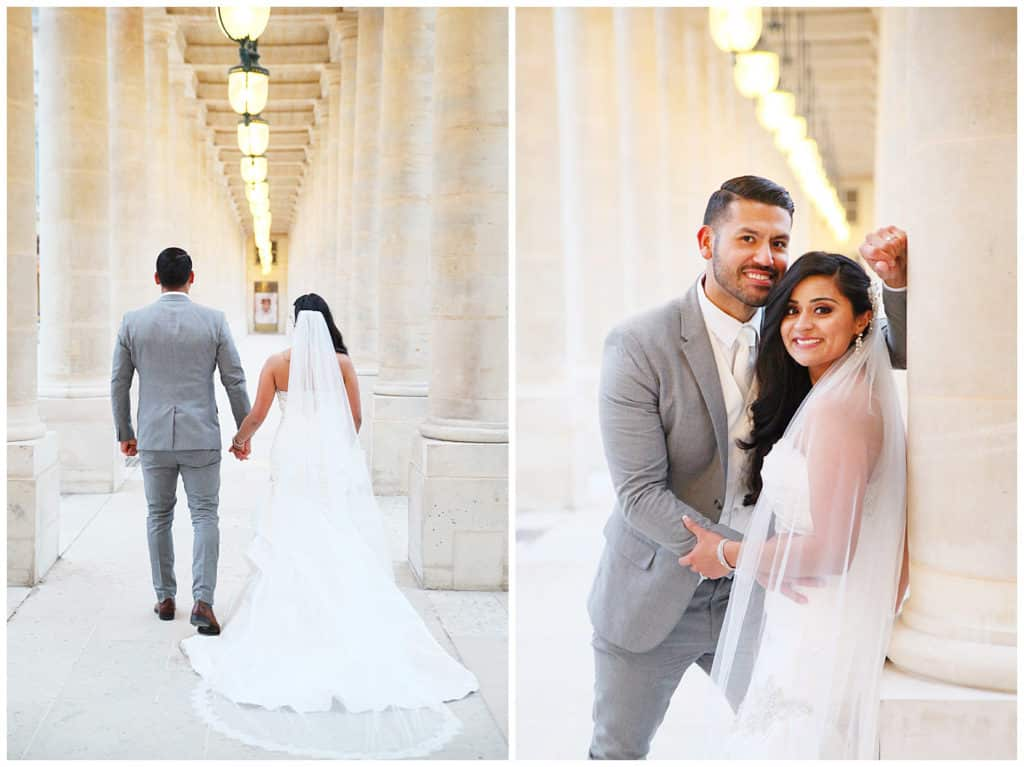 A gorgeous bride & groom winter wedding photo session in Paris, France