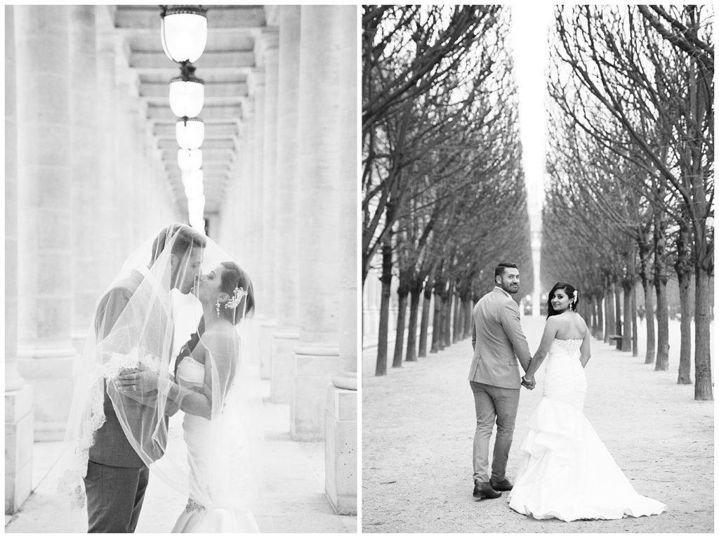 Une séance photo de couple de mariés, mariage hivernal à Paris