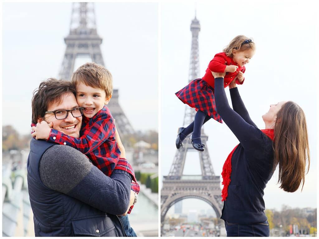 Une séance photo de famille automnale à Paris : Tour Eiffel, Montmartre et Louvre