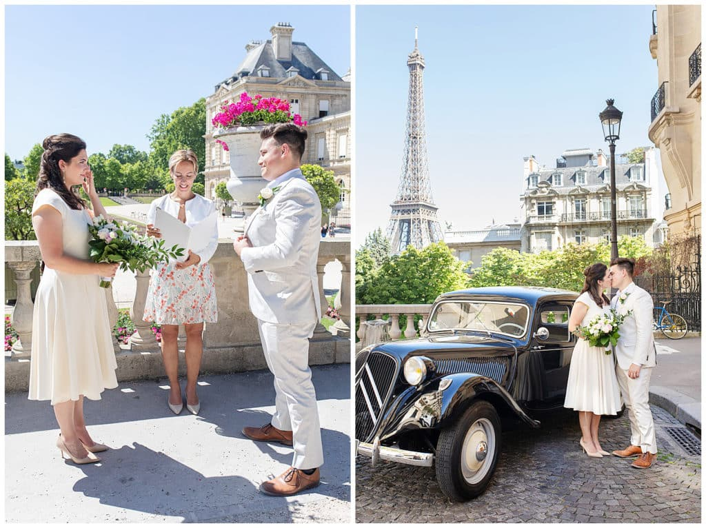 A Paris elopement at the Luxembourg Gardens and Eiffel Tower