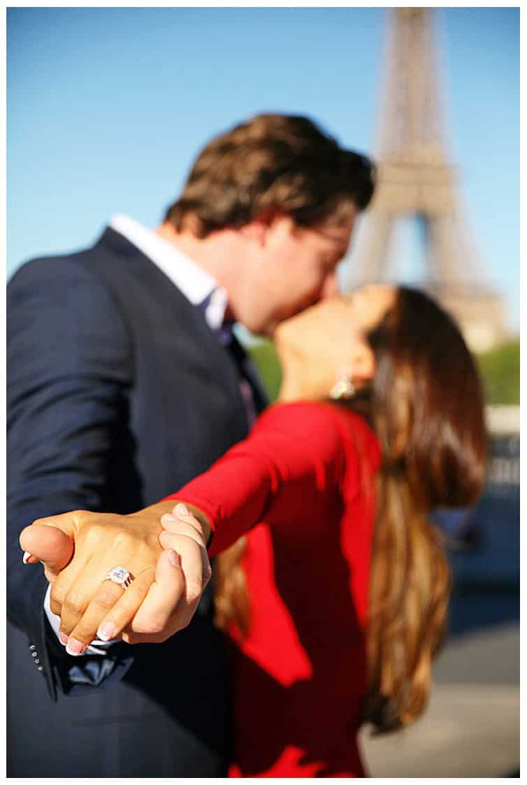 Marie Calfopoulos Photographer couple engagement surprise proposal Paris Eiffel Tower France