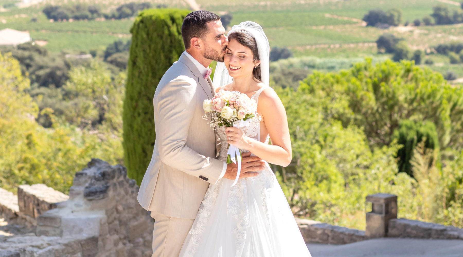 Bride & Groom portrait photo session on their wedding in Chateauneuf du Pape, Provence, France by photographer Marie Calfopoulos