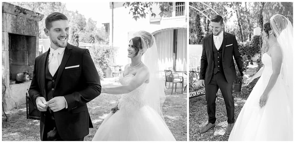 The First Look of the bride and groom on their wedding day