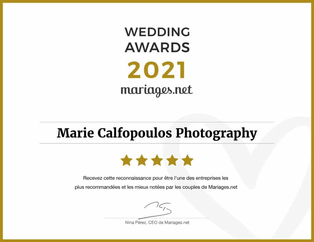 Marie Calfopoulos Photography has won the 2021 wedding award as a wedding photographer in Vaucluse from Mariages.net