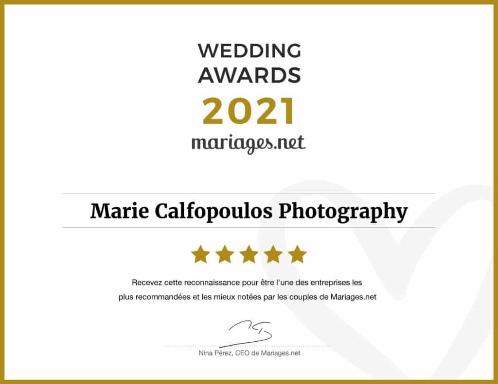 Marie Calfopoulos Photography a reçu le Wedding Award 2021 de Mariages.net en tant que photographe de mariage en Vaucluse