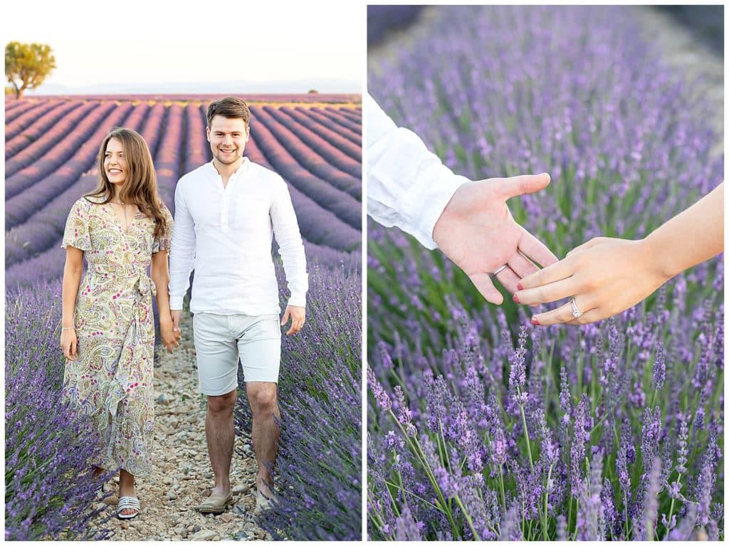 Une séance photo de noces de coton dans les champs de lavande de Valensole, Provence