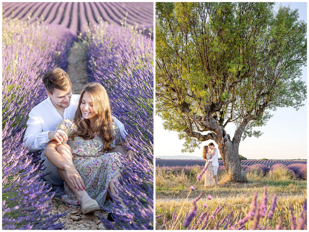 An anniversary photo session in the lavender fields of Valensole, Provence